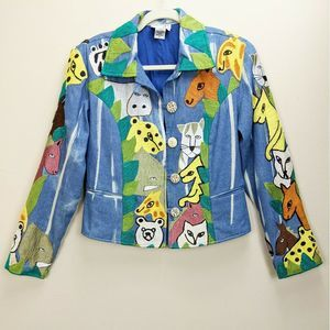 Anage Small Embroidered Jacket Animal Art to Wear